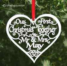 Our First Christmas Mr & Mrs Personalised Tree Decoration Heart Bauble Gift