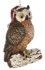 Owl on Log w/Santa Cap Christmas Ornament