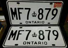 Super clean and nice set of Ontario wh/Black license plates, MF7-879