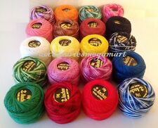 20 Variegated Solid Anchor pearl cotton embroidery thread mix colours balls