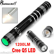 Cree Q5 LED Mini 1200LM Flashlight Pen Light Power Torch AA Lamp Light Clip UK