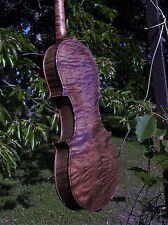 "OLD German 7/8 13 6/16"" 33.8cm Violin RARE Exquisite CURLY Maple Cased OUTFIT"