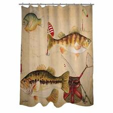Country Lodge Cabin Lake Home Fish Fishing Fabric Shower Curtain