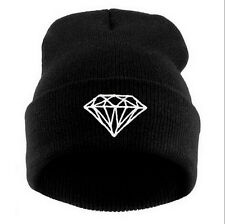 New Unisex Winter Warm Knit Diamond Hip-hop Beanie Hat Women's Men's Cap Black