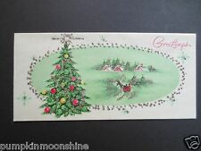 Vintage Unused Glittered  Xmas Greeting Card Pretty Pink Cottages & Holiday Tree