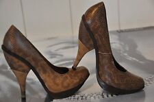 "WOMEN PARTY SHOES 100% LEATHER BROWN COLOUR ""MARNI"",SNAKE PRINT 4 SIZE 37"