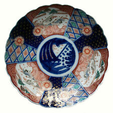 IMARI - Antique Lobed Porcelain Charger - Hand Painted - Japan - 19th Century
