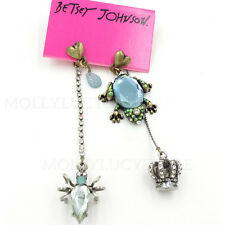 Betsey Johnson Antique Reptiles Frog Spider Mismatch Drop Earrings