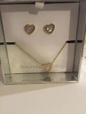 $145 Michael Kors Mother-of-pearl Heart Stud Earrings & Pendant Set