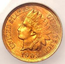 1903 Indian Cent Penny 1C - Certified ICG MS65 RD (Gem BU Red) - $500 Value!