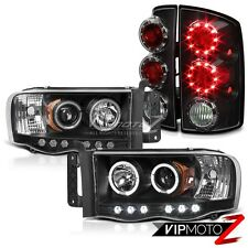 2002-2005 Dodge Ram Pickup Black Halo LED Projector Headlights Tail Lights Lamps