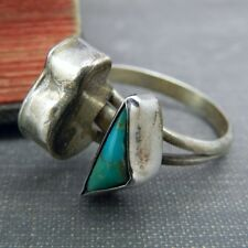 Sterling Silver Turquoise & Bear Ring - Size 5.5