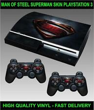 PLAYSTATION 3 CONSOLE STICKER SUPERMAN MAN OF STEEL SKIN & 2 CONTROLLER SKINS