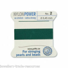 GREEN NYLON POWER SILKY STRING THREAD 0.45mm STRINGING PEARLS & BEADS GRIFFIN 2