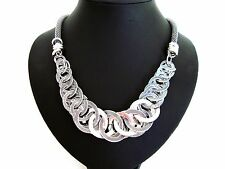 Stunning Chunky Unusual Silver Hoop Rings Statement Necklace LaGeNLooK JeWeLleRy