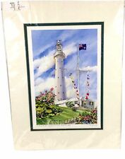 Carole Holding Bermuda Watercolor Print Gibbs Hill Lighthouse Signed Matted