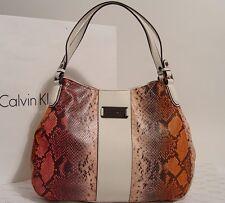 New Calvin Klein Snake Print Scoop Hobo Handbag - Black / Orange / Ivory