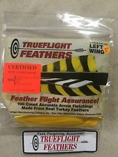 Trueflight 5 inch Feathers Left Wing Shied Cut 100 pack Yellow
