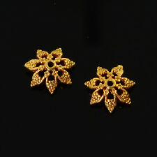 7.5mm 18k Solid Yellow Gold Fancy Floral Bead Cap Finding PAIR