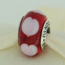 Authentic Pandora 790658 Red Love Hearts Murano Glass Sterling Silver Bead Charm