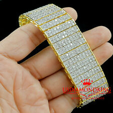 MENS 14K YELLOW GOLD FINISH CLEAR LAB DIAMOND 10 ROWS TENNIS BRACELET 65g 7.75""