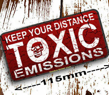 Hot Rod, Toxic Emissions sticker, Keep Your Distance, 115mm, quality print, new!