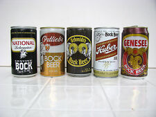 5 Bock cans, Huber, Ortlieb's, National, Genesee & Schmidt's