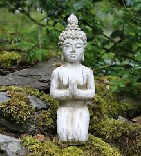 Buddha kneeling Stone Drift Wood Effect Garden Outdoor Indoor Statue Ornament