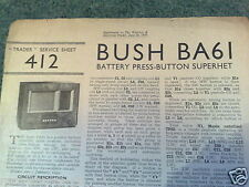 TRADER SHEET 412 * Circuit *  BUSH BA61 - 4 Valve Battery Superhet  * June 1939