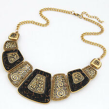 D36 Art Deco Tortoise Shell Brown & Black Silver Swirl Statement Metal Necklace
