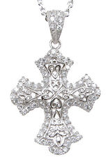 Beautiful Antique Style Sterling Silver CZ Pave Design Cross Pendant with Chain
