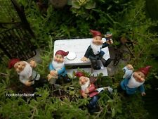 Miniature Fairy Garden Gnome Dwarf Figurine on pick set/ 5