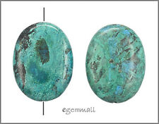 Large Natural Blue Green Chrysocolla Puffy Oval Pandent Bead 30x40mm #57035