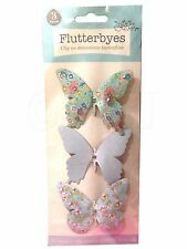 3 x clip on jewelled glittered decorative butterflies deco decoration Butterfly