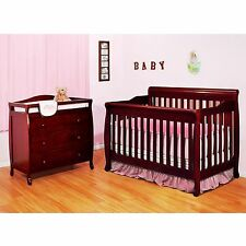 Baby Cribs With Changing Table Furniture Drawer Convertible Bed Cherry Pine Wood