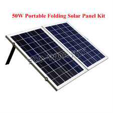 50W Portable Folding Poly Solar Panel System Complete Kit for 12V Camping Home