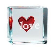Token de texto Spaceform Vidrio Rojo Amor Corazón 0333 De Regalo De Cumpleaños Bodas Recuerdo