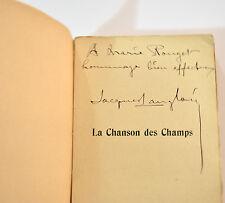JACQUES LANGLOIS 1904 LA CHANSON DES CHAMPS Envoi MARIE ROUGET