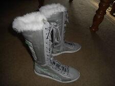 Womens PUMA Polar Kick Metallic Silver Winter Boots w/ Fur Size 7