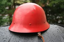Vintage Red Metal Fireman Firefighters Helmet