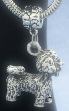 Adorable Bichon Frise Pendant -Charm on Pawprint Slider for Bracelet OR Necklace