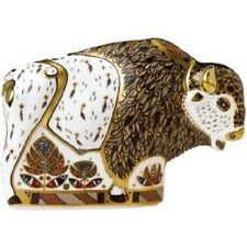 New Royal Crown Derby 2nd Quality North American Bison Paperweight with Gift Box