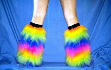 UV NEON FUZZY FURRY FLUFFY BOOT COVERS LEGWARMERS gators fluffies rave
