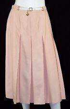HERMES Vintage NWT Rose Pink Silk Shantung Belt Detail Pleated Midi Skirt
