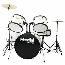 Mendini White 5-Piece Complete Adult Drum Set +Cymbal+Throne ~MDS80-WH