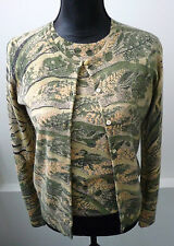 Neiman Marcus NWT Cashmere Beige & Green Sweater Set Cardigan & Shell Sz Sm $570