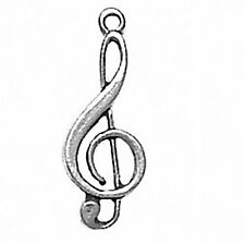 Music Note Clef Charm Sterling Silver Pendant Musical Symbol