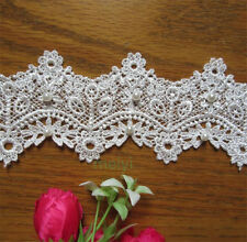 1yd Vintage Floral Pearl Lace Edge Trim Wedding Ribbon Applique DIY Sewing Craft