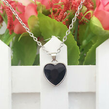 New Women Fashion Jewelry Vintage Design Silver Heart-shaped Crystal Necklace