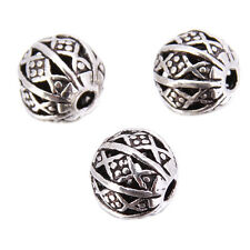 30pcs Antique Silver Geometric Figure Hollow Charms Spacer Beads Findings 8mm C